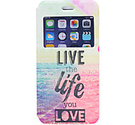 Live Your Life Pattern PU Window Full Body Case for iPhone 6