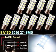10 PCS Super White BA15D 27-SMD 5050 LED Light bulbs Marine Boat 1142 1178 1130