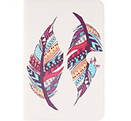 Colored Feather Patterns PU Leather Full Body Case with Stand and Card Slot for iPad mini 4