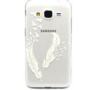 White feathers Pattern TPU Relief Back Cover Case for Galaxy Core Prime/G360