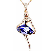 T&C Women's Elegant Gift 18k Rose Gold Plated Amethyst Purple Rhombus Crystal Dancing Girl Pendant Necklace