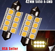 2PCS Warm White 578 211-2 42MM Festoon 5050 8-SMD Dome Map Trunk LED Light bulbs