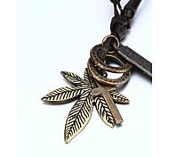 vilam® adujustable collier pendentif PU cuir pour double anneau feuille d'érable Cross Hommes