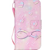 Pink Heart PU Material Cell Phone Case For iPhone 5/5S