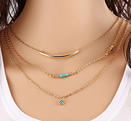 European Style Fashion Turquoise Palm Copper Blue Eyes Necklace