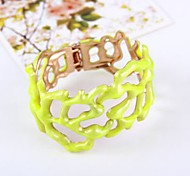 Fashion Lady Jewelry Wide Hollow Yellow Bangle Bracelet Gift