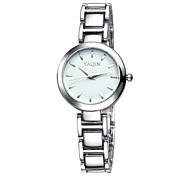 yaqin® moda de luxo prata mostrador redondo relógios de quartzo banda de mulheres