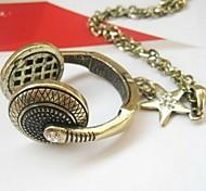 Vintage Headphone Pendant Pentagram Necklace Sweater Chain