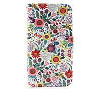 patrón de Chrysanthemum indicum pu funda de teléfono de cuero para Samsung Galaxy J1 (2016) / J5 Galaxy (2016)