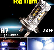 1920LM 7000K Cool White H7 High Power 80W LED Bulb Fog Driving DRL LED Light 12V