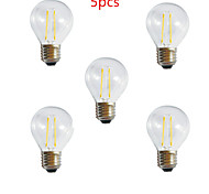 5pcs HRY® G45 2W E27 250LM 360 Degree Warm/Cool White Color Edison Filament Light LED Filament Lamp (85-265V)