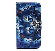Modelo del gato azul de la PU funda de teléfono de cuero para Samsung Galaxy J1 (2016) / J5 Galaxy (2016)