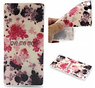 Ink Painting Rose Words Phrase Pattern 0.6mm Ultra-Thin Soft Case for Sony M5