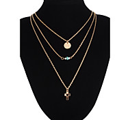 Cross Pendant Circle Multilayer Three Chain Necklace