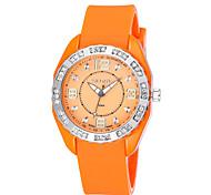 skone® strass mão de prata relógios pulseira de silicone caso de quartzo das mulheres luminosas com fivela de fecho