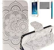 LEXY® Lace Sunflower Pattern PU Full Body Leather Case with Screen Protector and Stylus for iPhone 5/5S