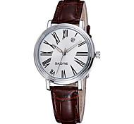 data automática roma caso de prata relógios pulseira de couro de quartzo das mulheres skone®
