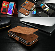 CASEME New Fashion 2in1 Genuine Leather Multi-function Zipper Wallet Card Slot Back Shell Case Cover for Galaxy Note 5