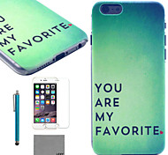 LEXY® Green Mood Pattern Hard PC Back Case with 9H Glass Screen Protector and Stylus for iPhone 5C