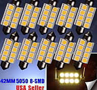 10X Warm White Festoon 42MM 5050 8-SMD 211-2 578 569 Dome Map Interior LED Light