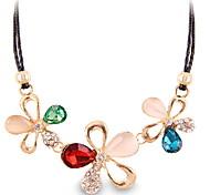 Fashion Colored Flower Diamond Choker Necklace Jewelry