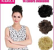 14 colori di estensione dei capelli della coda di cavallino della sposa bun parrucchino capelli finti scrunchie mossi Q7