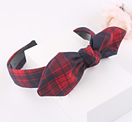 Grid Fabric Rabbit Ears Knot Head Band