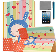 LEXY® Kindheart Bunny Pattern PU Leather Flip Stand Case with Screen Protector and Stylus for iPad Mini 4