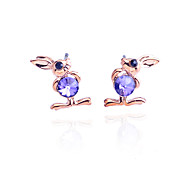 Korean Fashion Crystal Propitious Rabbit Alloy Stud Earrings