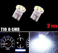 2× T10 Cool White Wedge 8-SMD Interior Dashboard Instrument Cluster LED Lights
