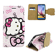 Disney Hello Kitty pink PU leather cover with a free Headfore HD Screen Protector for Samsung S6