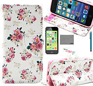 LEXY® White Flower Pattern PU Full Body Leather Case with Screen Protector and Stylus for iPhone 5C