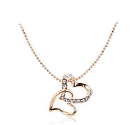 Korean Fashion Drill Double Hearts Pendant Alloy Necklace