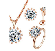 T&C Women's Elegant Gift 18k Rose Gold Plated Top Clear Cubic Zirconia Stone Earrings and Ring and Necklace Set
