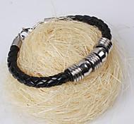 Silver Plated Black Leather Bracelet