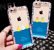 Luxury Rhinestone Diamond Bling Design Fluid Liquid Flowing Yellow Duck PC Hard Case Cover for iPhone 6 (Random colors)