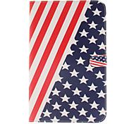 el diseño de la bandera de la PU cuero caso de cuerpo completo americano con el soporte y la tarjeta de ranura para galaxy tab e 9.6 T560