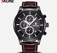 SKONE CHRONOGRAPH & 24 Hours Function Men Sport Watch Genuine Leather Luxury Watch Men Military Watch