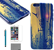 LEXY® Horizontal Version of Waves Pattern Hard PC Back Case with 9H Glass Screen Protector and Stylus for iPhone 5C