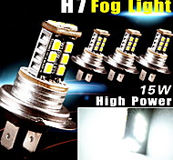 4PCS Super White Car H7 High Power 15W DRL Fog/Driving LED Light 800LMS Aluminum