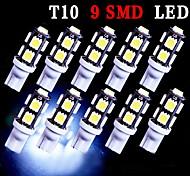 10 x t10 blanco estupendo cuña 9 SMD 5050 LED bombillas 192 168 194 W5W 2825 158