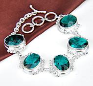 meilleure incendie de prix ovales vert gemme de quartz 0,925 bracelets en argent de la chaîne de lien bracelets pour la fête de mariage