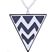 European Style Brief Individuality Ripple  Inverted Triangle Pendant Alloy Necklace