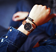 Мужской Женские Для пары Модные часы Кварцевый Кожа Группа Черный Коричневый