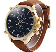 Men's Fashion Big Dial Khaki Leather Strap Quartz Watch Cool Watch Unique Watch