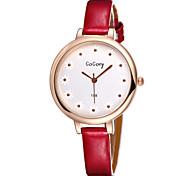 femme en or rose quartz analogique bracelet en cuir montres pour femmes de la mode vestimentaire décontracté montre