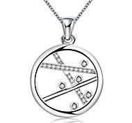 Annulus Diamante White Silver-Plated Pendant Necklace(White)(1PC)