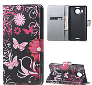 Butterfly Flowers Wallet PU Leather Stand Case for  Microsoft Nokia Lumia 950XL N950XL
