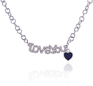 Fashion Drill Love You Letter Peach Heart Pendant Alloy Necklace