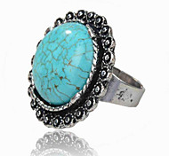 Vintage Antique Silver Round Turquoise Amethyst Tiger Stone Adjustable Free Size Ring(1PC)